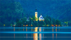 Lake Bled - Slovenia (~ Floydian ~ ) Tags: henkmeijer floydian photography slovenia lakebled bled lake sunset evening dusk twilight bluehour church island slovenian landscape landscapes canon canon5dmarkiv