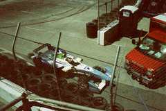 Pentax Espio 24EW Long Beach ePrix 08 (▓▓▒▒░░) Tags: racing car auto eprix grandprix fe formulae longbeach losangeles california electric race series 2015 inaugural piquet vergne analog mechanical vintage retro classic film camera 35mm prost f1 formula xpro cross process pentax point shoot compact lomo lomography zoom west coast tv television crash shunt wall trulli renault