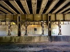 Viaduct (Crawford Brian) Tags: viaduct iron concrete road under railroad rail cta freighttrain train transportation street pavement scovilleavenue oakpark illinois midwest decay rust