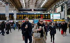seasalt: Victoria Railway Station London (Mike Cook 67) Tags: seasalt bag commuter rush railwaystation terminus rail nationalrail coffee winter nikonf80 film 35mm