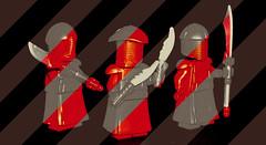 3 Praetorian Guards (OB1 KnoB) Tags: lego star wars minifigure custom praetorian guard snoke throne room duel fight battle red episode viii 8 thelastjedi last jedi rey kylo ren