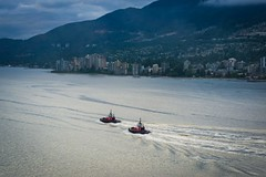 Two Tugs (World-viewer) Tags: mountains scenic pretty beautiful nice canada bc vancouver ilce6000 a6000 sony ngc sunset skyline shoreline seascape landscape water ocean boat boats travel marine