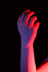 (josie.bell) Tags: pink blue hand colour black lighting shadow arm fingers