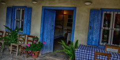 Cypriot House (LeBlanc_Nigel) Tags: door cottage house blue cyprus flowers table