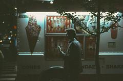 Ektachrome nightcrawlers 3: the suit and his sundae cone (NYC Macroscopist) Tags: midtown manhattan newyork night ektachrome icecream sundae cone truck suit man film vintage leicam6 summilux 50mm analog retrochrome160 lowlight lowiso slidefilm e6 ektachrome2239 nightcrawlers