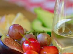 Wine and Fruit Plate (Karen McQuilkin) Tags: macromondays cheesebread fruit wine refreshments summersnack
