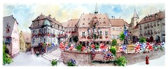 Barr - Alsace - France (guymoll) Tags: barr alsace france croquis sketch panoramique panoramic aquarelle watercolour watercolor aguarela ville city colombages église