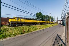 Urban Grit on the Susie-Q (sullivan1985) Tags: newjersey nj paterson passaiccounty okonite nysw susquehanna susieq newyorksusquehannawestern newyorksusquehannaandwestern nysw3618 nysw3800 nysw3806 nysw3016 sd45 sd452 sd60 sd30eco westbound freight freighttrain railroad railway train summer hot emd