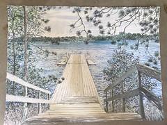 Summer residency 2018 watercolour of ski dock (Martin Beek) Tags: pearl exhibition walden painting residency art modern