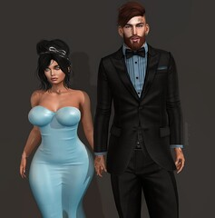 Walks with me(Mr.&Mrs.Winchester) (AW02) Tags: sl secondlife photography couple poses mesh avatar clothes apparel outfit formal