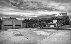 Abandoned Total Gas Station_BW (Kool Cats Photography over 10 Million Views) Tags: oklahoma old outdoor outdoors clouds architecture hdr textures building abandoned blackandwhite bw sky