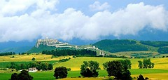 My beloved Slovakia and Spiš Castle (majka44) Tags: castle ruins light nature building church hill travel slovakia spiscastle green yellow meadow cloud
