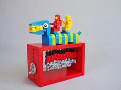 Riding the Pergyl (David Roberts 01341) Tags: lego mechanicaltoy cams classicspace minfigures technic monster spacemen