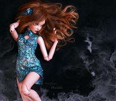 Arabella... (pure_embers) Tags: pure embers laura england tan resin bjd msd doll dolls fairyland minifee chloe uk girl minifeechloe pureembers embersarabella arabella photography photo ball joint brown alpaca hair youpla portrait meicoshhouse dress movement dancing smoke