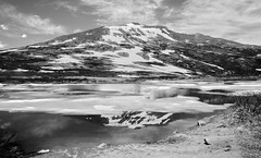 Happy Fourth of July (San Francisco Gal) Tags: independencepass continentaldivide colorado landscape lake mountain ice reflection snow bw monochrome cloud water