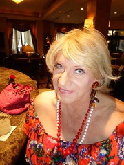 In Days Gone By, This Would Have Been Frowned Upon (Laurette Victoria) Tags: bar hotel woman laurette blonde dress necklace earrings milwaukee pfisterhotel
