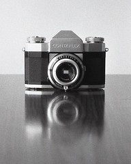 Contaflexion (OhDark30) Tags: carl zeiss jena czj werra 3 tessar 2850 35mm film monochrome bw blackandwhite bwfp fomapan 200 rodinal contaflex zeissikon alpha reflection camera