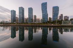 Songdo Skyline. (Kim Jin Ho) Tags: korea travel destination famous place tourist economic city urban scene river sea reflection water