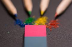 Fight! (mak_9000) Tags: macroo art pencil erasers eraser macromonday