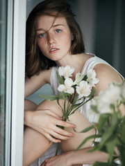 Anastasia (ivankopchenov) Tags: girl portrait cute canon beautiful natural model mood people face dark fineart soft shadow noir light eos young hair warm sensual gentle cinematic grain depthoffield art black eyes reflection white fashion naturallight flowers