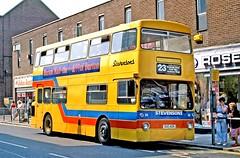 Stevensons, Uttoxeter: 86 (OUC42R) in Station Street, Burton on Trent (Mega Anorak) Tags: bus leyland fleetline fe30agr mcw dms stevensonsuttoxeter londontransport burtonontrent