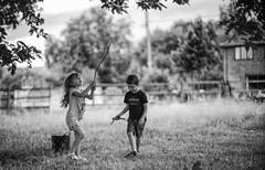 Magic Sticks (jayneboo) Tags: bw mono family twins ben norah four play imagination magical noctilux