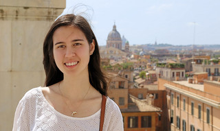 Samantha at the top of the Spanish Steps in Rome