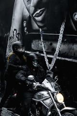 Masked (SemiXposed) Tags: melbourne cbd australia city outdoors winter motor bike harley davidson