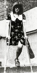 h5341-b100ft22  - The Platform shoe girl (jackcast2015) Tags: handicapped disabled disabledwoman cripledwoman onelegwoman oneleggedwoman monopede amputee legamputee crutches crippledwoman 1970s 1970sfashion