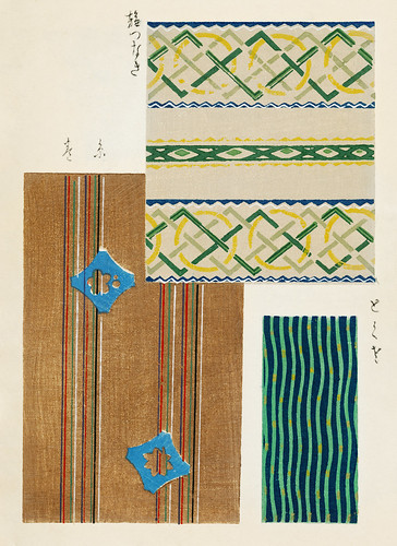 Vintage woodblock print of Japanese textile from Shima-Shima (1904) by Furuya Korin. Digitally enhanced from our own original edition.