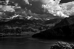 Atmosphere (martinus.structor) Tags: landscape lake lakeoflucerne vierwaldstaettersee clouds sky bw blackandwhite schweiz switzerland groupenuagesetciel nb