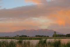Blanca Vista Summer Sunset (Patricia Henschen) Tags: blanca blancavista alamosa colorado park sunset clouds alpenglow wetland mountain mountains massif sangredecristo summer sanluisvalley lake