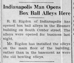 1933 - Rigdon opens bowling alley in Zimmer bldg - Enquirer - 29 Jun 1933