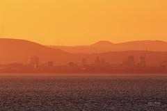 Hot in the City (Geoff Moore UK) Tags: summernight hotlandscape hotweather scorching warmsummernights cityatsunset settingsun welshsunset