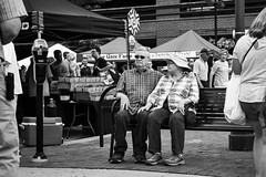 Market Bench 2 (mfhiatt) Tags: img21140618jpg market bench street streetphotography farmersmarket downtownfarmersmarket courtavenue desmoines iowa blackandwhite