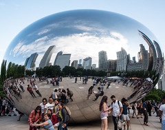 CloudGate_115217 (gpferd) Tags: bean building chicago cloudgate clouds construction landmark people plant reflection tree illinois unitedstates us