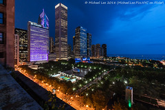 Millennium Park Twilight (20180809-DSC06699) (Michael.Lee.Pics.NYC) Tags: chicago aerial cindysrooftop millenniumpark cloudgate thebean pritzkerpavilion crownfountain hotelview chicagoathleticassociation twilight night bluehour architecture cityscape skyline lakemichigan sony a7rm2 voigtlanderheliar1mmf45