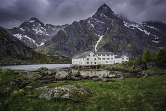 Ustad seahouse (wimvandemeerendonk, off to Iceland. back in septem) Tags: böstad norway lofoten mountainscape clouds cloud fjord landscape mountain nature outdoors outdoor panorama rock rocks sony sky scenic snow valley wimvandem water architecture house abigfave