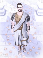 Ave, Imperator! (Orwar Furlgrimr) Tags: sl second secondlife photo photograph photography toga legionnaire emperor imperator caesar olympus cloud heaven haven rose roses petals pfc deadwool gaeg beard volkstone signature gianni amais kian scar misty mist voir ancient