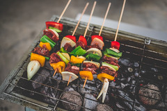 BBQ 3 (Just Juls▲) Tags: food bbq cook meat vegetable skewer outdoor coal capsicum onion leek pepper beef meal