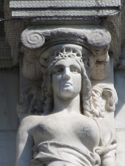 Mysterious Woman Dame Summer Caryatid NYC 5412 (Brechtbug) Tags: mysterious woman dame summer caryatid stone ladies courthouse roof statues across from madison square park new york city atlantid 2018 nyc 07152018 art architecture gargoyle gargoyles statue sculpture sculptures facade figures column columns court house law government building lady women figure form far east buildings season seasons fall