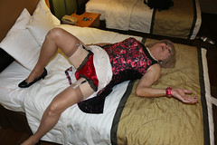 new142398-IMG_0692t (Misscherieamor) Tags: transvestite sissy crossdress tgirl transgender travestis travestie travesti tranny tv ts cd tg m2f tgurl gurl mature xdresser feminine femme transformation travestido travestit travestito traviesa transwoman stockingtops garters silktappanties prettydress onbed motel