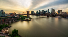 Brooklyn To Manhattan  III (Gary Walters) Tags: brooklyn bridge east river sunset longexposure nyc a7r2 city cityscape a7r ii skyline water buildings a7rii brooklynbridge eastriver