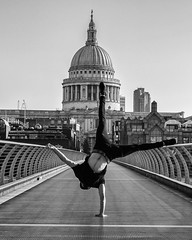 Aligned (Sam Codrington) Tags: bnw stpaulscathedral london athlete handstand bridge people vladrusu millenniumbridge blackandwhite gymnast monochrome england unitedkingdom gb