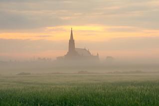 A misty dawn at St James' Church, Cruden Bay