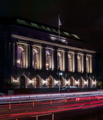 herbst theater for the ethnic dance festival (pbo31) Tags: sanfrancisco california city urban july summer 2018 boury pbo31 nikon d810 night dark black lightstream motion roadway traffic panoramic large stitched panorama civiccenter herbsttheater vannessavenue ethnicdancefestival ball benefit formal