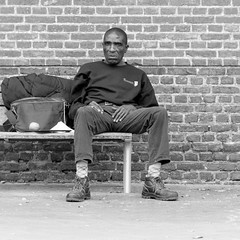 an apple and a tablet (every pixel counts) Tags: 2018 belgium europa day belgië bench bricks people everypixelcounts blackandwhite man street blackwhite eu 11 square westvlaanderen oostende mann alone bw