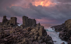 Stormy evening at Bombo quarry (keithhorton3) Tags: bombo quarry kiama new south wales australia rock latite basalt stormy evening naturephotography canon sky clouds water sea waves brown sunlightonwater panorama hdr