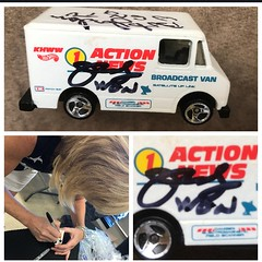 #21-44, Hot Wheels, Action News Van, 1/64 scale die cast, loose, Judy Pielach, WGN Radio, Goodwill, The Good Buy Girl, Signing 6/23/2018, Evanston, Ill., Signed By, WGN, TV News, Robert Jordon, and, Andrew Holmes, Chicago Activist, (Picture Proof Autographs) Tags: picture proof autographs photo signed signing autographed autograph 2144 hotwheels actionnewsvan 164scalediecast loose judypielach wgnradio goodwill thegoodbuygirl signing6232018 evanston ill signedby wgn tvnews robertjordon andrewholmes chicagoactivist