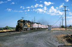 Helping Hand from the Rio Grande (jamesbelmont) Tags: riogrande amtrak californiazephyr emd gp402 f40ph riverton utah draper drgw siding railway passenger superliner